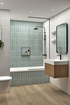 Future Home Interior Bathroom. Residential project in Madrid, Spain Bathroom Design Small, Bathroom Interior Design, Modern Bathroom, Colourful Bathroom Tiles, Blue Bathroom Tiles, Small Full Bathroom, Green Bathroom Decor, Bathtub Tile, Bathroom Tile Designs