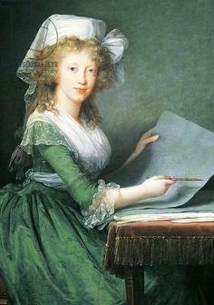 A portrait of Marie Antoinette, by Elisabeth Louise Vigée LeBrun.  Unpowdered hair, simple attire - she looks very young and Hapsburgian.