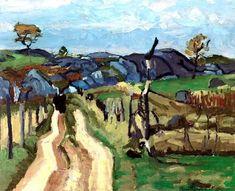 Stuart Davis (American, Landscape Blue, Oil on canvas, 19 x 23 in. via lilithsplace Stuart Davis, Blue C, Walking Paths, A Moment In Time, Amazing Paintings, Landscape Paintings, Landscapes, Oil On Canvas, Cool Photos