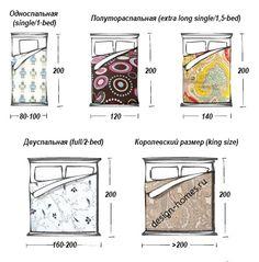 Размеры кроватей в спальне: односпальной, полуторной, двуспальной