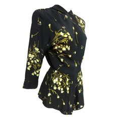 1stdibs | 40s Floral Print Peplum Blouse in Rayon Crepe