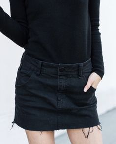 ★ ★ ★ ★ ★ five stars (black cutoff mini skirt, black pullover)