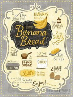 ©Richard Faust 'Banana Bread Recipe' - Recipes, tips and everything related to cooking for any level of chef. Recipe Drawing, Sketch Note, Sugar Bread, Food Journal, Food Drawing, Banana Bread Recipes, Easy Banana Bread, Chalkboard Art, Food Illustrations