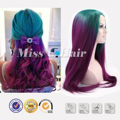 Long Ombre Synthetic Wigs For Women Straight Green Wig
