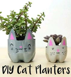 How to make cat planters out of old plastic bottles Plastic Bottle Crafts, Recycle Plastic Bottles, Crafts To Do, Crafts For Kids, Arts And Crafts, Preschool Crafts, Craft Projects, Projects To Try, Bottle Art