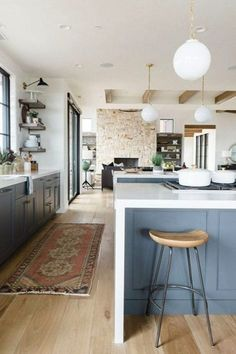 Blue cabinets in the kitchen