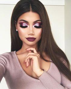 Lila Bluse und Make-up - Prom Makeup Looks Glam Makeup, Purple Makeup, Makeup On Fleek, Bridal Makeup, Wedding Makeup, Hair Makeup, Girls Makeup, Makeup Brush, Gorgeous Makeup