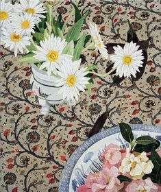 Daisies and camelias on Indian cloth (woodblock print) - Cressida Campbell Illustrations, Art And Illustration, Contemporary Australian Artists, Traditional Paintings, Fruit Art, Gravure, Woodblock Print, Flower Art, Art Flowers
