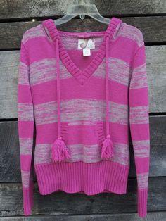 OP Pink & Gray Stripe Long-Sleeved Hooded Sweater Juniors Size Large 11/13  #OP #HoodedVNeckSweater