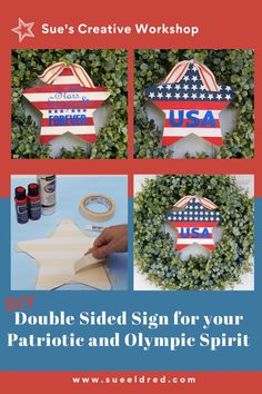 How to create a Double-Sided Sign to show your Patriotic and Olympic Spirit. Designed by Sue's Creative Workshop www.sueeldred.com #4thofjuly #olympics #patriotic #sign Wood Stars, Boxwood Wreath, Paint Line, White Acrylic Paint, Creative Workshop, Patriotic Crafts, Vinyl Crafts, Decoration, Crafts To Make