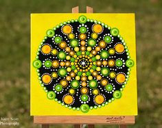 Citrus Blast Mandala Original punto pintura acrílica sobre lienzo tabla mandalaart dotartwork mandaladesign