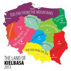 Poland - The Land of Kielbasa Funny Maps, Poland Map, Poland Culture, Learn Polish, Us Regions, Kielbasa, Culture Travel, Good Mood, Things To Know
