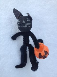 Vintage Chenille Spun Cotton Halloween Black Cat Pumpkin Figure Ornament | eBay