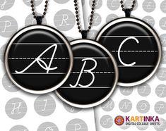 Alphabet BACK TO SCHOOL 1 inch circles Digital by KARTINKAshop, $3.50