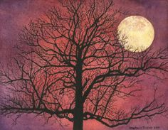 """""""Moon Tree"""" - I saw this tree somewhere online, with an almost psychedelic background of a glowing sunset. I loved the shape of it, so I created the moonrise background and decided to call it Moon Tree."""