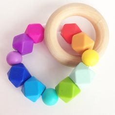 Hexagon Teething Ring Baby Teether Toy Wooden Teether Rainbow Silicone Teether FDA Silicone safe Beads Teething Ring Chew Beads