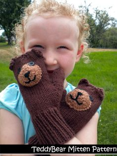 Teddy Bear Mittens Pattern