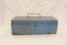 Vintage Rusty Tool Box Blue Metal by rarefinds4u on Etsy