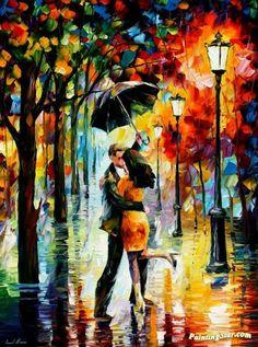 Dance under the rain Artwork by Leonid Afremov