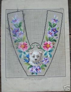 Berlin WoolWork Slipper Pattern With Terrier