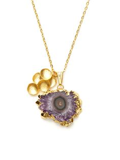 Gold Cluster & Amethyst Stalactite Pendant Necklace by Indulgems on Gilt