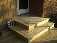 Ideas wood deck stairs wooden steps for 2019 Patio Steps, Outdoor Steps, Wood Steps, Deck Over Concrete, Concrete Stairs, Wooden Stairs, Concrete Porch, Front Porch Steps, Back Patio