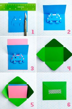 8-bit popup cards. Tutorial + templates [space invaders + skull + heart (separate post)].