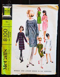 Vintage RARE McCall's 8100 1965 Misses and by VintagePatternsPlus, $9.00