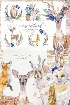 Watercolor Deer, Watercolor Texture, Watercolor Animals, Watercolor Illustration, Watercolor Christmas, Animal Templates, Christmas Illustration, Woodland Animals, Flower Clipart