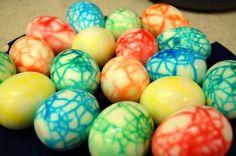 dinosaur eggs! just crack the shells of hard-boiled eggs then dip in Easter egg dye & viola! definitely doing these as deviled eggs