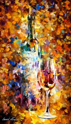This is the best possible quality of recreation made by Leonid Afremov in person. The recreation is hand painted by Leonid Afremov using oil paint, canvas and palette knife. The certificate is signed by Leonid Afremov. Wine Painting, Oil Painting On Canvas, Painting Art, Canvas Paintings, Painting Frames, Canvas Art, Wine Art, Leonid Afremov Paintings, Palette Knife