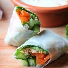 Crunchy Sesame Spring Rolls with Tahini Coconut Dip -bring on the sunshine! (vegan & gluten free)