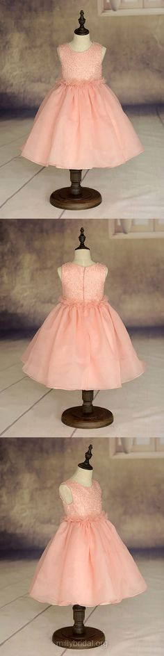 Cheap Flower Girl Dresses Ball Gown, Pink Junior Bridesmaid Dresses Ruffles Ankle-length Organza