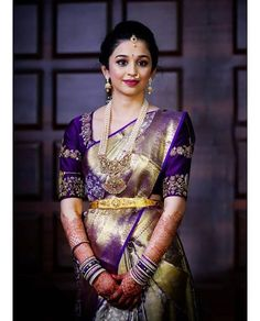 Indian Wedding Wear, Indian Bridal Outfits, Indian Bridal Fashion, Indian Wedding Sarees, Pattu Sarees Wedding, Wedding Hair, Bridal Hair, Wedding Saree Blouse Designs, Fancy Blouse Designs