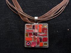 mosaic square pendant di MOSAICANDARTS su Etsy