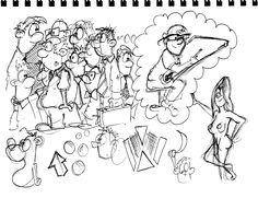 Crowd, dreams, naked girl, cartoon drawing table, boon, cartoons, cartoonist for hire, boondawgoggle, one guy drawing, doodles