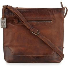 Frye Melissa Tumbled Leather Crossbody Bag (1.340 BRL) ❤ liked on Polyvore featuring bags, handbags, shoulder bags, bags/purses, purses, dark brown, purse crossbody, leather crossbody, leather crossbody handbags and brown shoulder bag