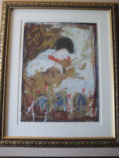 "JANET TREBY ""GUITARIST"" SERIOLITHOGRAPH IN COLOR ON WOVE PAPER, SIGNED & NUMBER"