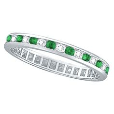 Classy Emerald & Diamond Channel Set Eternity Band Ring (1.04ct)