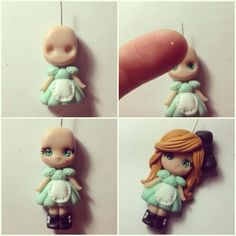 Made from fimo clay. Polymer Clay People, Polymer Clay Kunst, Polymer Clay Figures, Cute Polymer Clay, Cute Clay, Polymer Clay Dolls, Polymer Clay Projects, Polymer Clay Charms, Polymer Clay Creations
