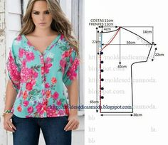 how to sew a beautiful and fashion blouse and tunic tutorial free pattern Tunic Sewing Patterns, Sewing Blouses, Blouse Patterns, Clothing Patterns, Tunic Pattern, Fashion Sewing, Diy Fashion, Ideias Fashion, Costura Fashion