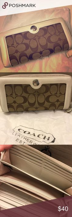 Authentic Coach wallet This is a gently used Authentic Coach monogram pattern zip around wallet. It comes with its Dustbag. Smoke-free home. Very clean, odor free, no cuts, tears. It does have one or two very small spots on the inside that could probably be removed. Priced accordingly. Coach Bags Wallets