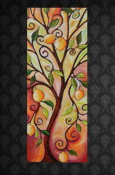 "Abstract Tree Painting ""Summer Lemon"""