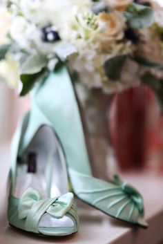 Mint Wedding Shoes|Mint, Pink & Grey Winter Wedding| Photo by: BLUE MARTINI PHOTOGRAPHY