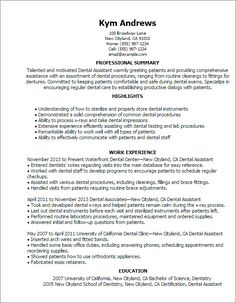 Resume Templates: Dental Assistant