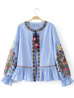 Cheap blusas fashion, Buy Quality blusas style directly from China blouse fashion Suppliers: 2017 Fashion Women Ethnic style Sequin embroidery Stripe Shirts Long sleeve Blouses Casual Loose Tops chemise femme blusas