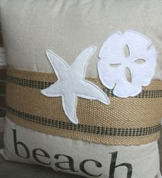 Rustic Beach Pillow Sham in Black - Customizeable to Your Color Choice and Name or Phrase. $21.00, via Etsy.