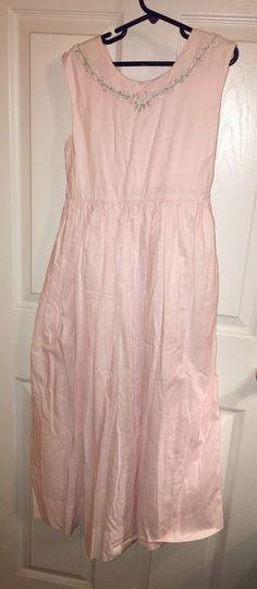 Strasburg Size 10 Dress Girls Light Pink Long Embroidered Flowers Lined Holiday  #Strasburg #DressyHoliday