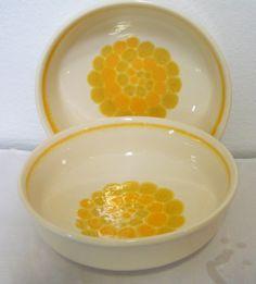 Vintage Franciscan Dinnerware, 2 Sundance Serving Bowls, Yellow Mod Earthenware by cyndalees on Etsy https://www.etsy.com/listing/223935492/vintage-franciscan-dinnerware-2-sundance