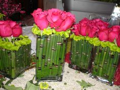 Bamboo centerpiece instead of roses use cherry blossums